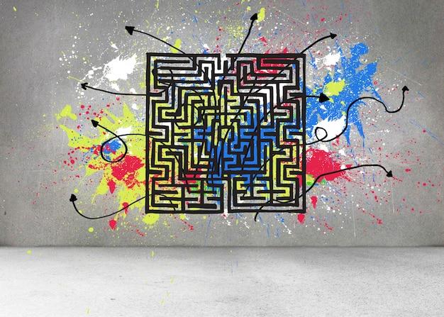 Graue wand mit labyrinth und spritzer
