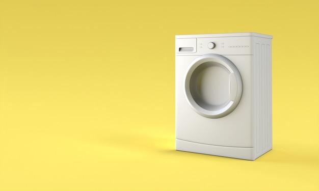 Graue waschmaschine an einer gelben wand. 3d-rendering. niemand in der nähe.