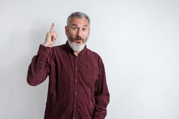 Grauer bärtiger mann des porträts hat eine idee und zeigt mit dem zeigefinger, der oben auf weißem wandhintergrund lokalisiert wird