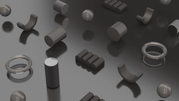 Grauer hintergrund der grauen glänzenden geometrischen formen