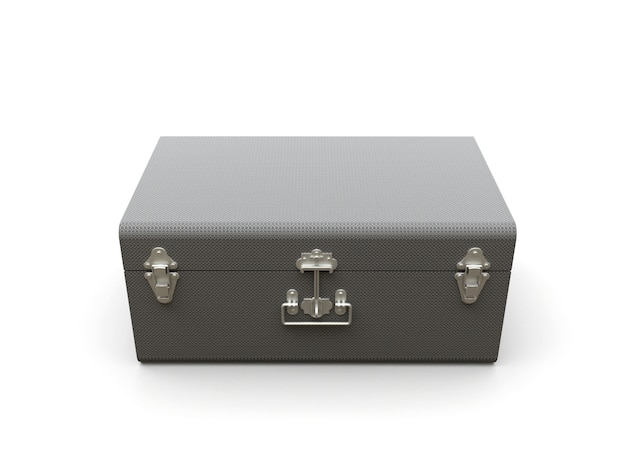 Grauer lederkoffer mit exquisiten verschlüssen. klassisches premium-design mit jahrhundertealten traditionen. modernes neues produkt im vintage-stil