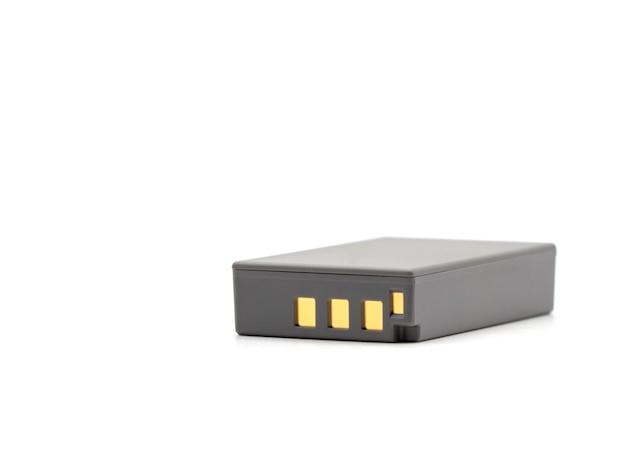 Grauer lithiumionenbatteriesatz für die kamera lokalisiert auf weißem hintergrund.