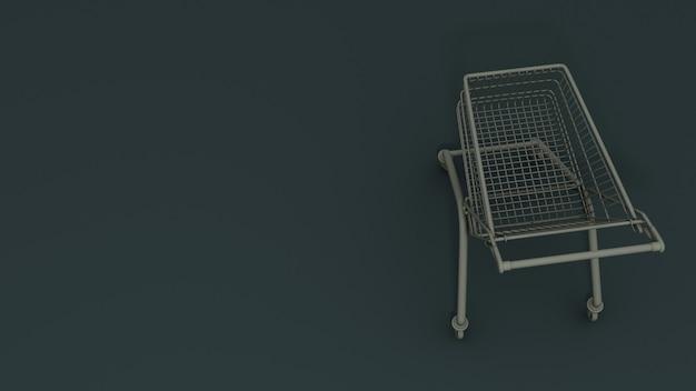 Grauer metall-einkaufskorb