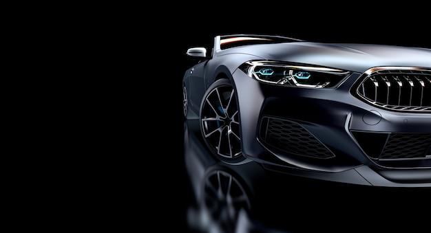 Grauer sportwagen auf schwarzem hintergrund. 3d rendern.