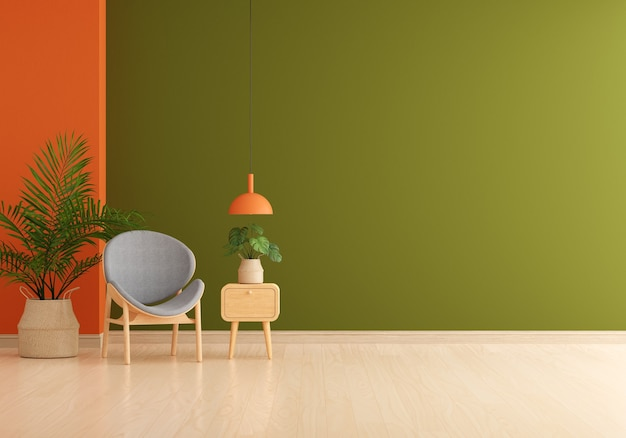 Grauer stuhl im grünen wohnzimmer mit freiem raum