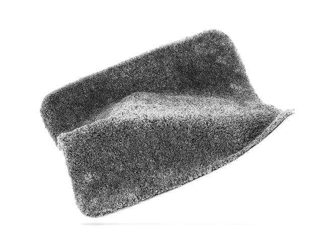 Grauer teppich auf weißem hintergrund. innenelement