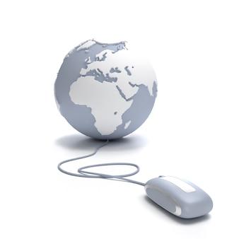 Grauer und weißer erdkugel, orientiert an europa, verbunden mit einer computermaus