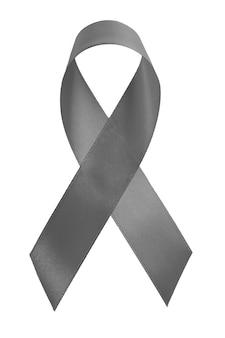 Graues farbband getrennt auf weiß. parkinson-krankheit oder symbolisches konzept des gehirnkrebsbewusstseins