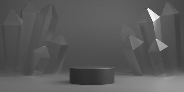 Graues minimales abstraktes hintergrundzylinderpodest mit kristallform, bühne für produkt. 3d-rendering