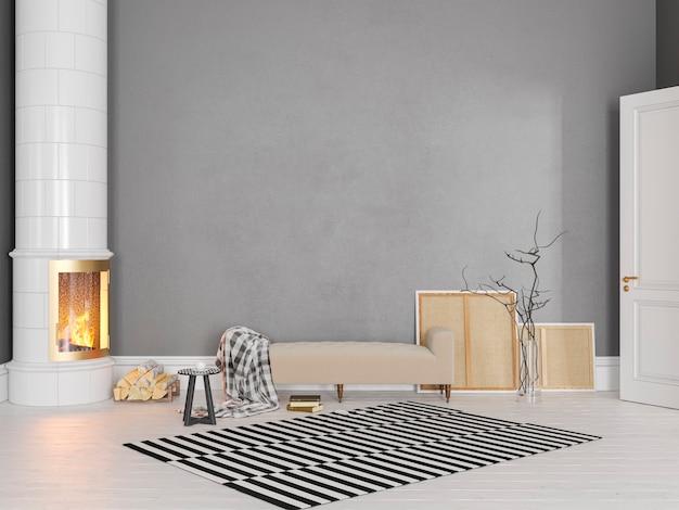 Graues skandinavisches, klassisches interieur mit couch, herd, kamin, teppich. 3d-render-illustrationsmodell
