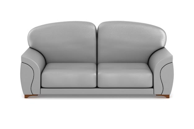 Graues sofa auf weißem hintergrund. isolierte 3d-illustration