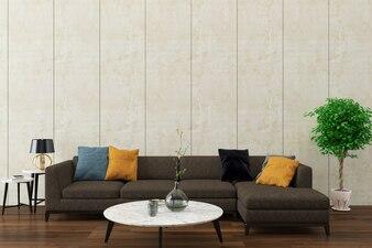 Graues Sofa des Marmorwandbeschaffenheitshintergrundholzfußbodens