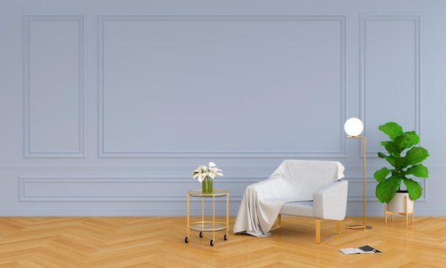Graues sofa im luxuswohnzimmer