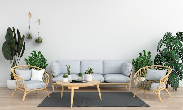 Graues sofa im reinraum für modell
