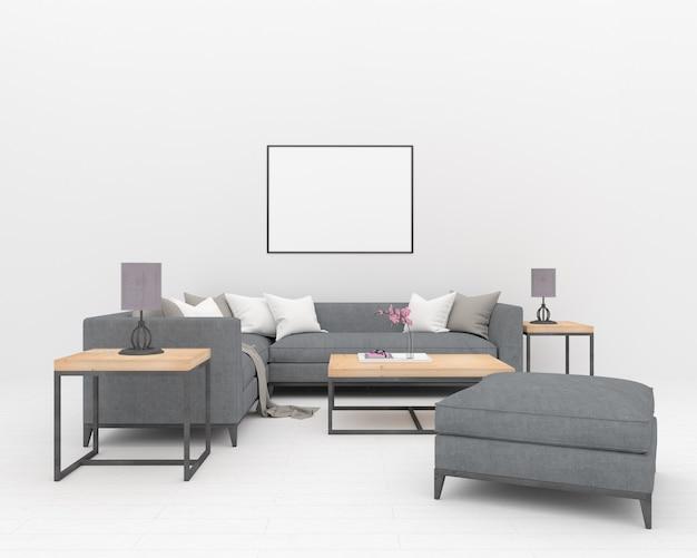Graues sofa im weißen innenraum - horizontaler rahmen