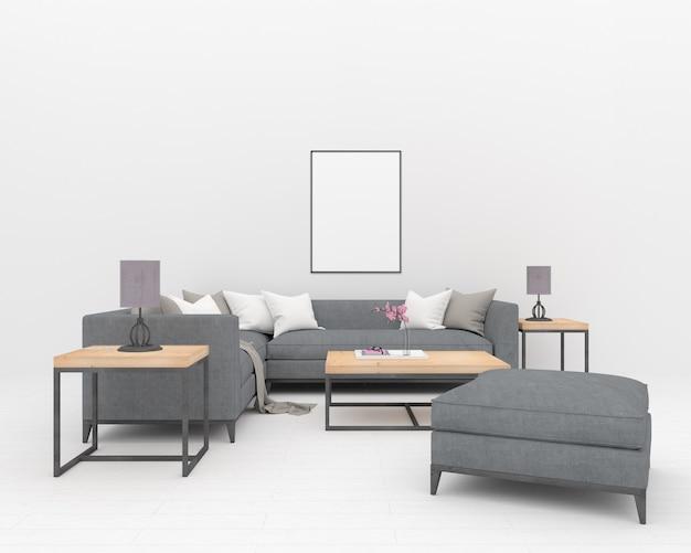 Graues sofa im weißen innenraum - vertikaler rahmen