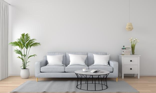 Graues sofa im weißen wohnzimmer