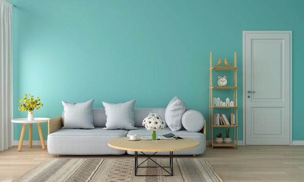Graues sofa im wohnzimmer