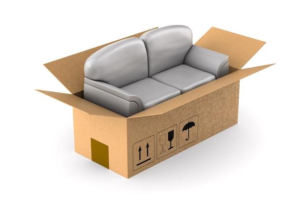 Graues sofa in frachtkasten auf weißem hintergrund. isolierte 3d-illustration
