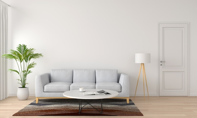 Graues sofa und lampe im weißen wohnzimmer, wiedergabe 3d
