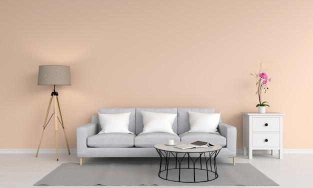 Graues sofa und tisch im wohnzimmer