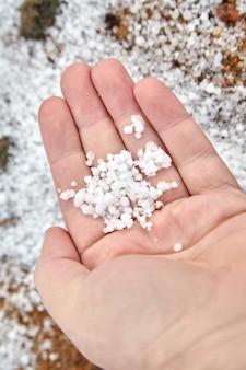 Graupel, schneekugeln oder weicher hagel in der handfläche auf unscharfem hintergrund. form des niederschlags. hand mit kleinen weißen kugeln aus graupel