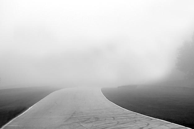 Graustufenaufnahme eines weges mit nebligem hintergrund