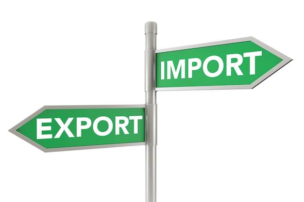 Green arrow export- und import-verkehrszeichen auf weißem hintergrund