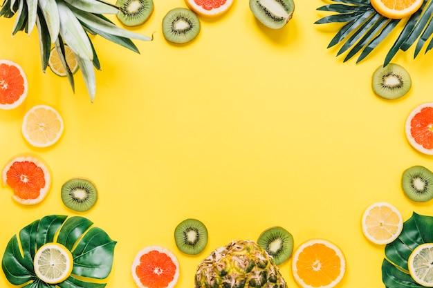 Grenze von exotischen blättern und früchten