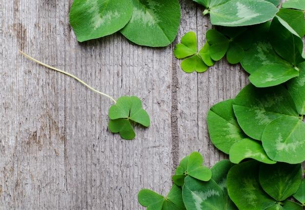 Grenze von frischen grünen kleeblattblättern auf einem alten hölzernen hintergrund. vorlage für st. patricks day grußkarte oder poster.