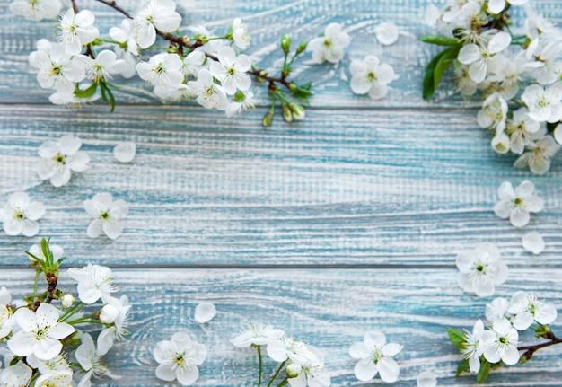 Grenzhintergrund mit schönen weißen blühenden zweigen.