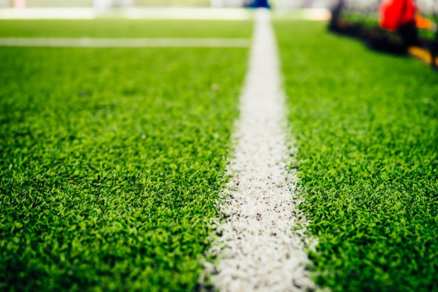 Grenzlinie eines hallenfußballfußballtrainingsfeldes