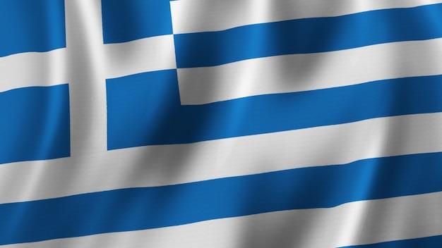 Griechenland fahnenschwingen nahaufnahme 3d-rendering mit hochwertigem bild mit stoffstruktur