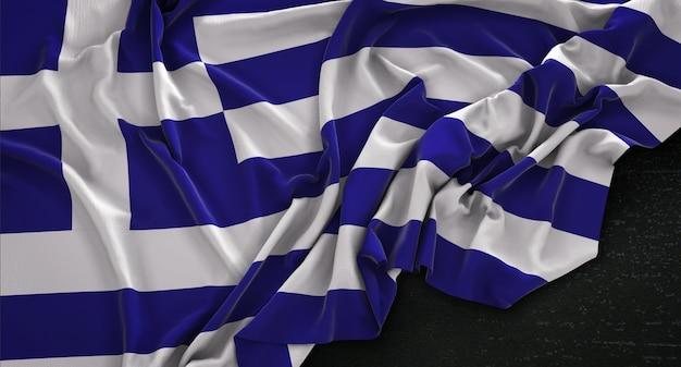 Griechenland-flagge, die auf dunklem hintergrund geschleudert 3d render