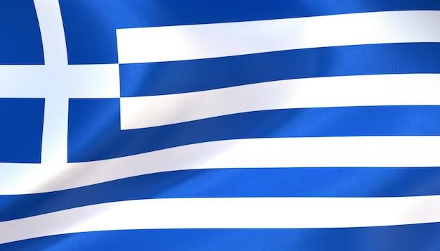 Griechenland-flagge rendern mit textur