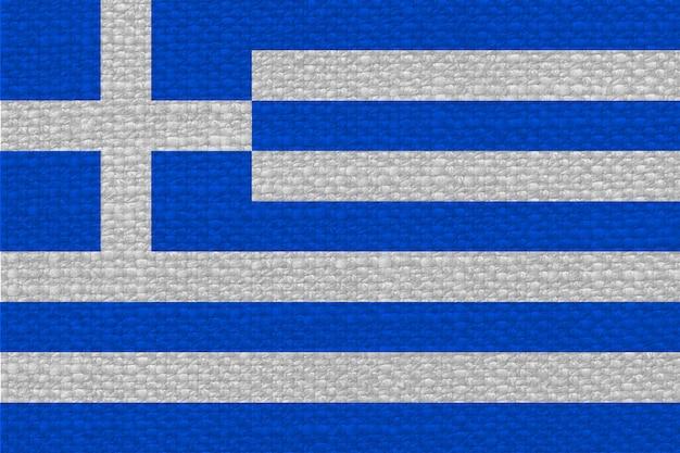 Griechische flagge von griechenland mit stoffstruktur