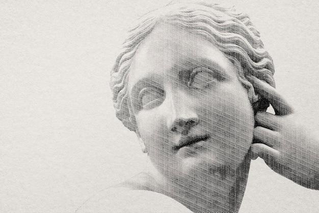 Griechische statue im gravurstil