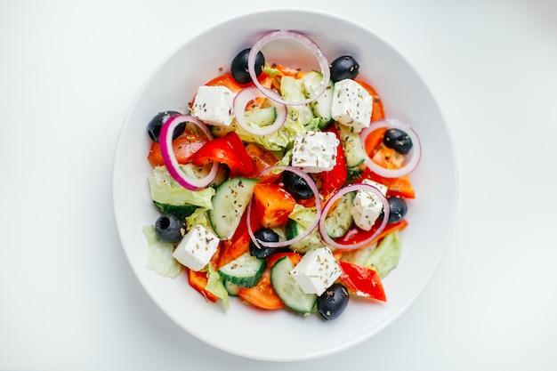 Griechischer salat. ansicht von oben