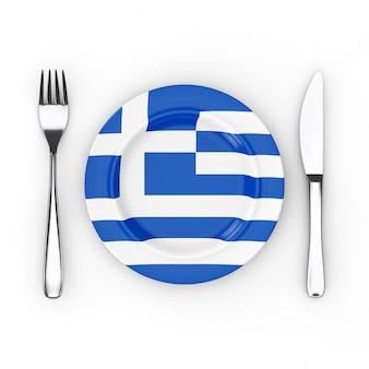 Griechisches essen oder küchenkonzept. gabel, messer und teller mit griechenland-flagge auf weißem hintergrund. 3d-rendering