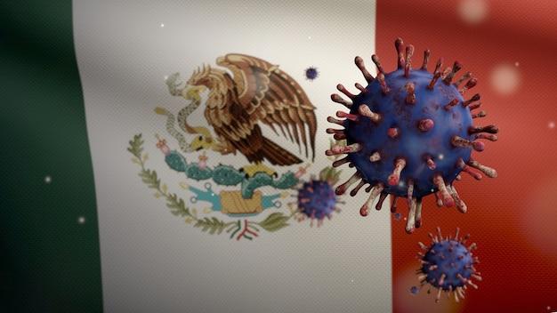 Grippe-coronavirus, das über der mexikanischen flagge schwebt, ein krankheitserreger, der die atemwege angreift. mexiko-banner, der mit dem konzept der pandemie des covid19-virusinfektion weht. nahaufnahme von echten stoff textur fähnrich