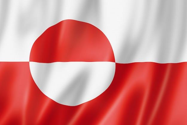 Grönland-flagge, dänemark wehende bannersammlung. 3d-darstellung