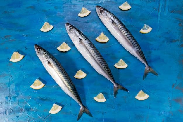 Großaufnahme von rohen frischen gesunden makrelenfischen