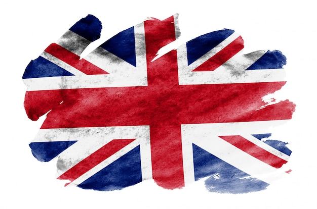 Großbritannien-flagge wird in der flüssigen aquarellart dargestellt, die auf weiß lokalisiert wird