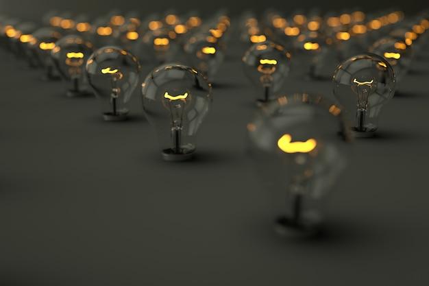 Große anzahl von 3d realistisch beleuchteten glühbirnen auf einem grauen isolierten hintergrund 3d glühbirnen