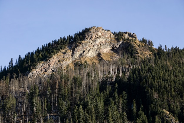 Große bergklippen gegen einen blauen himmel