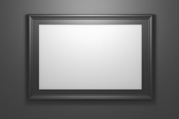 Große breite schwarze glänzende fotobilderrahmen mit kopienleerzeichen auf schwarzem hintergrund