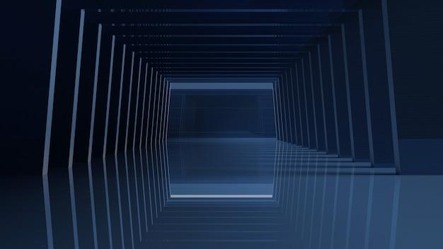 Große dunkle halle garage tunnel korridor leerer studiohintergrund schwarzlicht glow zement 3d-rendering