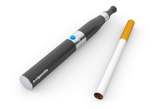 Große elektronische zigarette auf weißem hintergrund