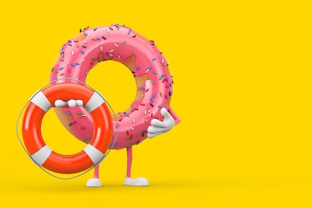 Große erdbeerrosa glasierte donut-charakter-maskottchen mit rettungsring auf gelbem hintergrund. 3d-rendering