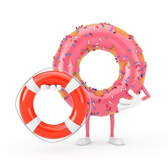 Große erdbeerrosa glasierte donut-charakter-maskottchen mit rettungsring auf weißem hintergrund. 3d-rendering